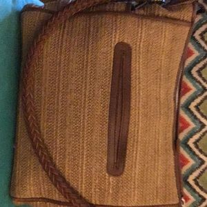 Brighton straw and leather handbag brown